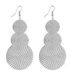 BLISSATURN FASHION SILVER THREE CIRCLE SELF DESIGN LIGHT WEIGHT EARRINGS FOR WOMEN